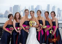 I've always thought navy dresses with pink would be nice for bridesmaids
