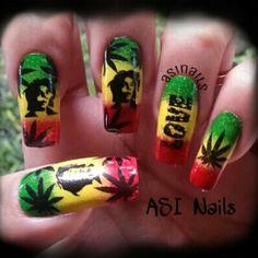 gel nail designs I really love Bob Marley Nails, Nail Art Designs, Acrylic Nail Designs, Blue Nail, Coffin Nails Long, Long Nails, Jamaica Nails, Weed Nails, Homecoming Makeup