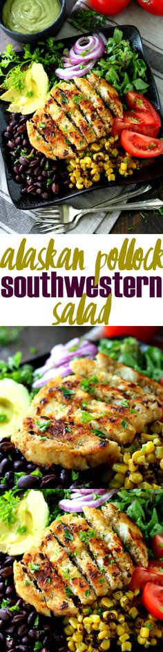 Alaskan Pollock Southwestern Salad with Avocado Dressing- an easy, flavorful Tex-Mex dish that will knock your socks off! (high protein, h. Avocado Dressing, Avocado Salad, Avocado Recipes, Healthy Salad Recipes, Tex Mex, Avacado Dinner, Whole30, Pesto, Southwestern Salad
