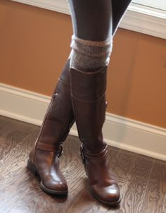 ... HUE OTK socks with knee-high boots and leggings for easy chic results