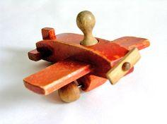 Vintage red wooden airplane, WatermelonCatVintage