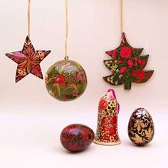 Handpainted wooden christmas tree decorations baubles ornaments