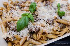 Oxfilépasta – MATPLATSEN Penne, Pasta Recipes, Food And Drink, Pizza, Ethnic Recipes, Animal, Lasagna, Animaux, Animals