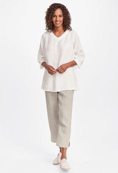 Pocketed Ankle Pant by Flax at Hello Boutique Womens Linen Clothing, Flax Clothing, Linen Trousers, Color Swatches, Linen Dresses, Ankle Pants, Simple Style, Bell Sleeve Top, Normcore