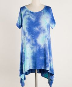 Another great find on #zulily! Royal Blue Tie-Dye Asymmetrical Hem Tunic - Plus Too #zulilyfinds