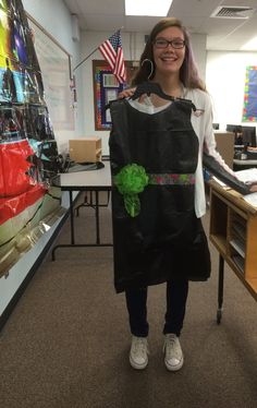 Junior High CTE Fashion Design with trash bags and duct tape.