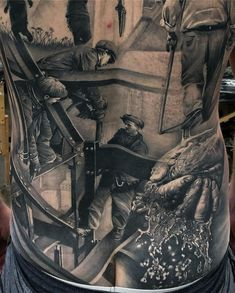 Fantastic back piece by MATT JORDAN SHIP SHAPE TATTOO