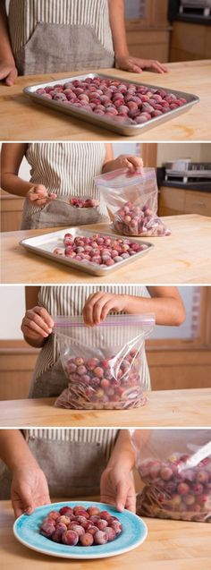 How to freeze grapes for a splendidly simple snack ~ Frozen grapes are a delicious and healthy treat. Healthy Vegan Snacks, Easy Snacks, Healthy Beach Snacks, Frozen Meals, Frozen Desserts, Fruit Recipes, Grape Recipes, Recipies, Gourmet
