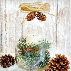 Pottery Barn Mason Jar Knock Off Mason Jar Christmas Gifts, Mason Jar Gifts, Homemade Christmas Gifts, Christmas Candles, Christmas Diy, Christmas Decorations, Christmas Bells, Country Christmas, Mason Jar Candle Holders