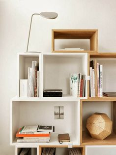 Trend | Box it up - French By Design Blog Love this shelving - mix & match timber & white