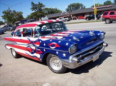 1957 Chevy (Chevrolet) Bel Air American flag flames, stars and stripes Badass! 1957 Chevrolet, Chevrolet Chevelle, Chevrolet Trucks, Chevy Impala, Bel Air, American Muscle Cars, American Flag, American Pride, American Auto