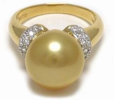 Golden South Sea Pearl Ring, 11mm   18k Yellow or White Gold  0.33ct Diamonds   $1090