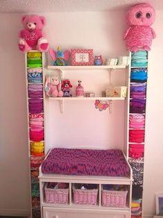 Kids Closet Storage, Girls Bedroom Storage, Baby Clothes Storage, Diy Storage, Kitchen Storage, Newborn Diapers, Cloth Diapers, Reusable Diapers, Diaper Organization