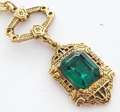 Victorian Revival Emerald Green Rhinestone Gold Tone Necklace Pendant Signed ART #ART #Choker