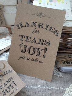 Rustic/Vintage Shabby chic Brown A5 Wedding 'Hankies for Tears of Joy' sign