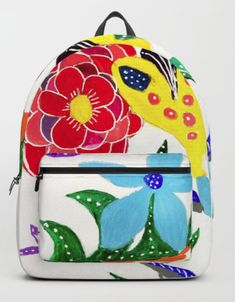 Tati Galiano. Ilustracion. Society6. Backpack dreaming in the garden. #society6 #flowers #dreaming