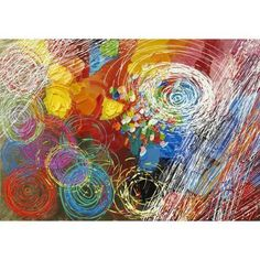 Abstract acrylic painting rendered with heavy	 textural strokes of strong primary colors. Movement is created in the foreground with spiraling circles contrasted with linear strokes of white and primary colors.
