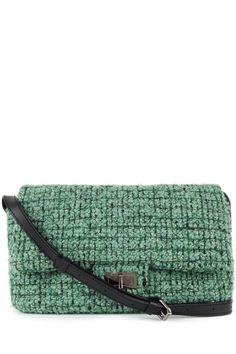 9cbde0c58c3 Chanel Green Tweed Reissue Jumbo Messenger Flap Bag