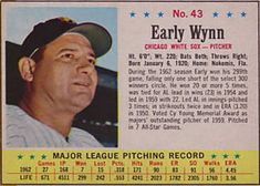 1963 Post Cereal #43 Early Wynn | The Trading Card Database Trading Card Database, Chicago White Sox, Cereal, Baseball Cards, Breakfast Cereal, Corn Flakes
