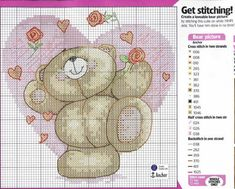 Schema punto croce Valentine Bear 5
