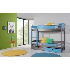 Pat din lemn de pin pentru copii Natu II Graphite, Bunk Beds, Room, Furniture, Home Decor, Kids, Products, White Bunk Beds, Bunk Bed