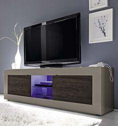 Mobile porta-tv finitura tortora opaco con frontali in essenza di legno wengè
