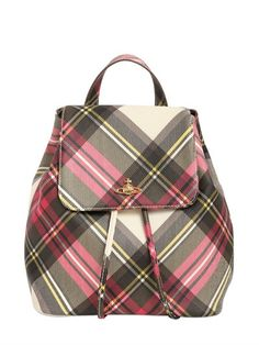 VIVIENNE WESTWOOD Derby Plaid Print Faux Leather Backpack, New Exhibition. #viviennewestwood #bags #leather #backpacks #lace #