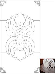T Multi Heart Pop Up Insert Template Mary Posenke Kirigami Card Patterns