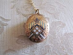 Antique Victorian Locket / Ornate Enameled Locket by LUXXORVintage, $135.00