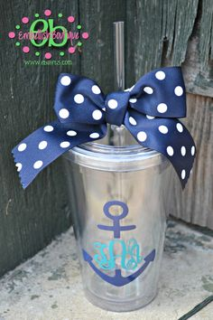 15 Anchor Monogram CLEAR Personalized  by embellishboutiquellc