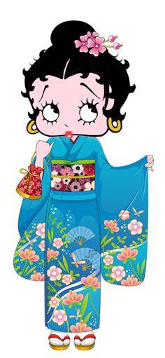 Betty Boop wearing traditional Japanese kimono.