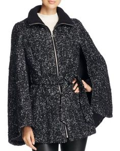 Laundry by Shelli Segal Belted Tweed Cape Coat | Bloomingdale's