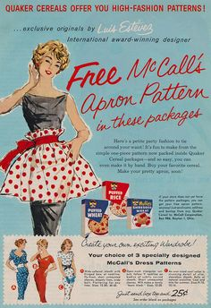 Free McCall's Apron Pattern by The Pie Shops Collection, via Flickr
