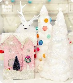 Eeeeek!    regram @afancifultwist Make your own cardboard tiny houses & cereal box cotton ball Christmas trees Tutorials on my blog in the left hand sidebar link in profile  #diy #christmas #cottonballtree #pink #miniature #tinyhouse #glitter #crafty #sparkle  #paperhouse #crafts #tutorial #cardboardhouse #fanciful #fun #christmascraft #whimsical #afancifultwist #holidaycrafts by brianaheikell