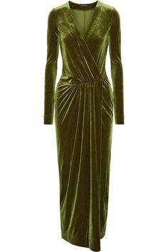 Army-green stretch-velvet Concealed hook fastening at front 90% polyester, 10% elastane Dry clean Designer color: Hunter Imported