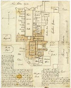 John Rickman's plan of the destruction of the Palace of Westminster, drawn four days after the fire of 16th October 1834. The brown hatched area shows the burnt out parts. Rickman, a senior Parliamentary official, watched the progress of the fire from his house, labelled 'Rickman' at the top of the plan. The old House of Commons is in the centre of the picture, and the House of Lords just below it to the left. It's clear from this diagram how narrowly Westminster Hall escaped destruction.