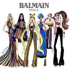 """The """"Sailor Moon"""" in Balmain Collection - by Armand Mehidri Who was your favorite Sailor scout? Sailor Moon Art, Sailor Jupiter, Sailor Moon Crystal, Sailor Venus, Balmain Collection, Sailor Moon Cosplay, Hayden Williams, Fandom Fashion, Fashion Design Sketches"""
