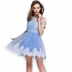 Stylish Lady Sweet Women's Fashion Casual Short Sleeve High Waist Mesh Chiffon Patchwork Mini Dress