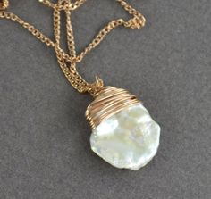 Keishi Pearl Necklace Rose Gold Necklace White Pearl Freshwater Cornflake Elegant Jewelry Rose Gold FIlled on Etsy, $42.00
