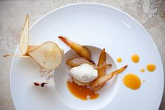 Frangipane, Dried Pear, Apple Chips, Pate Feuilletée, Sautéed Bosc Pears, Roasted Almond-Rosemary Ice Cream, and Apricot Sauce