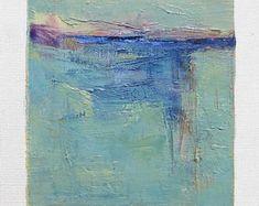 Februari 25, 2018 - origineel Abstract olieverfschilderij - 9 x 9 schilderen (9 x 9 cm - app. 4 x 4 inch) met 8 x 10 inch mat