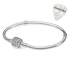 "Amazon.com: PANDORA 590723CZ-18 Sterling Silver Signature Clasp Bracelet, 7.1"": Jewelry"