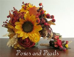 Autumn Fall Silk Flower Bridal Bouquet Sunflowers by PosiesPearls