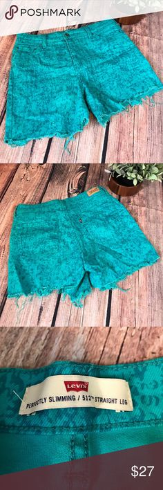 Levi's cut off turquoise shorts One of a kind Levi's homemade cutoff shorts. Shorts