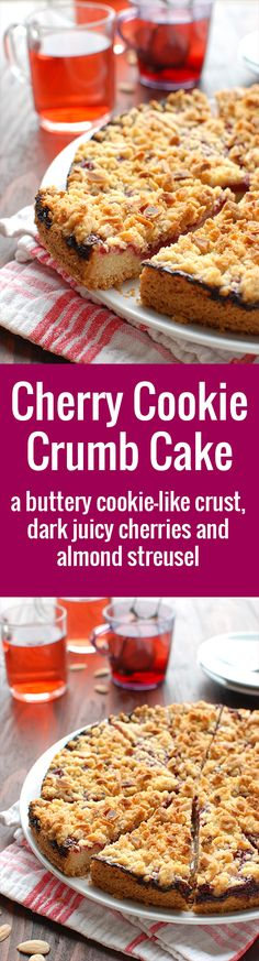 Cherry Cookie Crumb Cake - a buttery cookie-like crust, a dark cherry filling and almond streusel. Delicious! Pie for dummies ;) | thetoughcookie.com