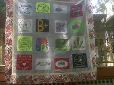 Caley's t-shirt quilt, via Flickr.