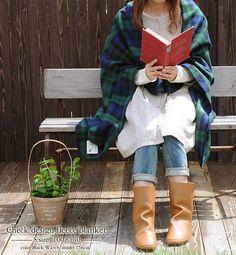 Mori girl reading outside