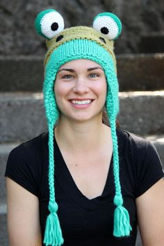 Animal hats are hot this year. This adorable Frog trapper hat is ultra soft and cozy. A fun gift hat for cancer patients. #animalhats