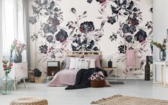 Dark flowers • Contemporary - Bedroom - Nature - Wall Murals ✓ 365 Day Money Back Guarantee ✓ Consulting on the Pattern Selection ✓ 100% Safe✓ Set up online!
