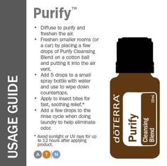 Purify doTERRA essential oil  Combats odors & is a cleanser  www.mydoterra.com/inspiredbyd  Ask how to get wholesale prices and change how you manage your health!!
